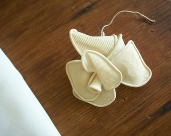 Antique silk ribbon work of linen authentic 1930s