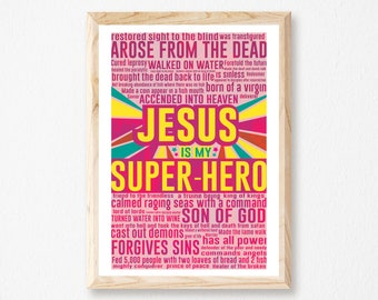 "Jesus Is My Super-Hero - Toddlers Room, Super Hero, Over Crib Art, Baby Bedroom Decor, Pink Super-Hero Print, Measures 11""x 17""."