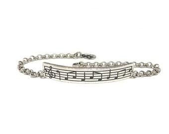 Sheet Music Bar Bracelet, Music Note Bracelet, Sterling Silver Ox Finish
