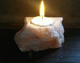Pink Himalayan Salt Candle Holder