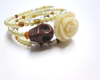 Day Of The Dead Bracelet Sugar Skull Jewelry Wrap Wedding Bridal Ivory Rose
