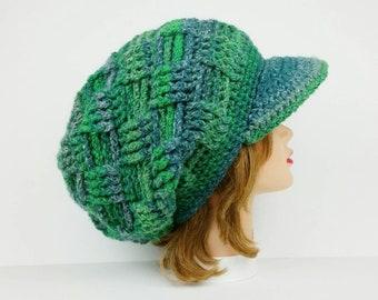 Crochet Newsboy Hat, Visor Beanie, Crochet Hat, Women's Hat, Green Hat With Brim, Sun Visor Hat, Slouchy Hats For Women, Newsboy Cap