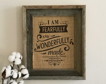Fearfully and Wonderfully Made Burlap Print Sign, Scripture Nursery Decor, Wall Art, Psalm 139:14, Home Decor, Farmhouse, Childrens Room