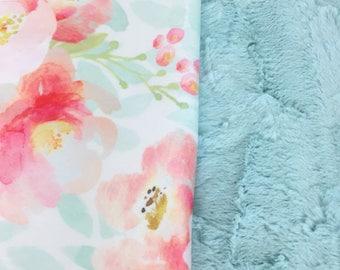 Floral Baby Blanket - Minky Baby Blanket - Mint Blanket - Pink Baby Blanket - Coral Baby Blanket - Girl Blanket - Baby Blanket Girl - Custom