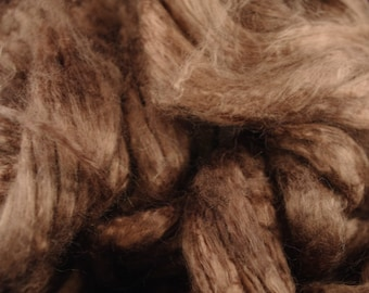4 oz Hand painted Bamboo combed top spinning fiber - Dark Chocolate
