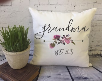 new grandma throw pillow/pregnancy announcement for grandma/ gift for grandma/ gift for nana/ mother's day gift/personalized pillow