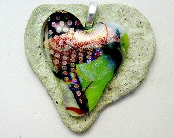 Fused Dichroic Glass Pendant - Heart Pendant
