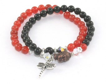 Gemstone Budhha Bracelet Set, 2 Stretch Bracelets, Carnelian & Black Onyx