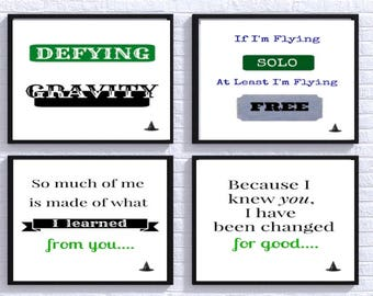 4 Wicked Digital Prints, Flying Solo, Changed For Good, So Much of Me, Defying Gravity, Broadway print, Wicked Poster, Broadway Musical