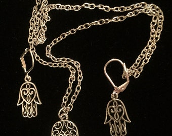 Art Deco Hamsa Jewish Jewelry - Kabbalah Necklace and Earrings - Hand of Fatima - Judaic Hamsa Jewelry Set - AspenTreeJewelry