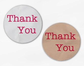 Fuchsia Thank You Wedding Favor Stickers - Custom White Or Kraft Round Labels for Bag Seals, Envelopes, Mason Jars (2011)