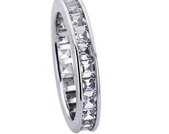 3.5mm Platinum Plated Silver 2ct CZ Channel Set Wedding Engagement Band Ring set(HBHB15R0354A)