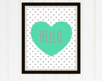 Hello Mint Heart Printable Emily Collection