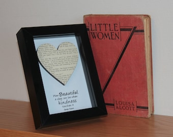 Recycled Vintage Little Women Louisa May Alcott Book Box frame art, with a hand stamped, embossed Kindness quote