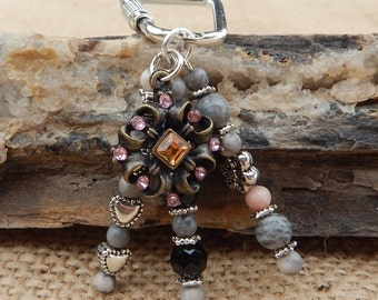 Key Ring  ~  Vintage Jewelry Piece and Pink Zebra Jasper Beaded Key Chain  ~  Beaded Key Ring