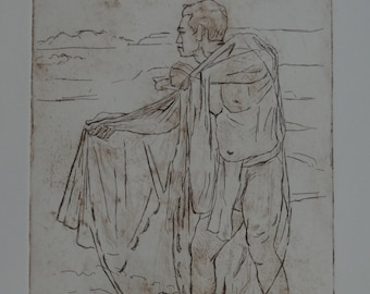 Douglas Pooloa Tolentino, Dry Point Etching of a Hawaiian Fisherman Holding His Net Title: Kalawaia