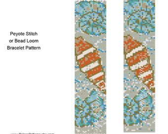 Bead Loom and Peyote Stitch Bracelet Pattern - Sea Shells on the Beach