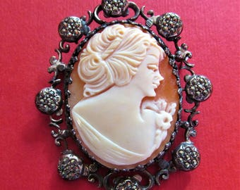 Cameo Vintage Sterling Silver And Marcasite Pin Jewelry