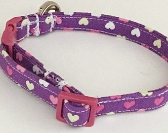 Purple Valentine's Day Heart Collar for Girl Dogs and Cats