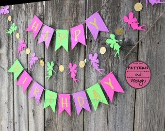 Gold Paper Fairy Birthday Banner, Pink Purple and Green Fairy Birthday Garland,  Girl's Birthday Party Decor, Gold Glitter Happy Birthday