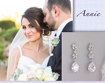 Crystal Bridal Earrings, Crystal Drop Earrings, Crystal Chandelier Bridal Earrings, Crystal Bridal Jewelry,  Silver Wedding Earrings,ANNIE C