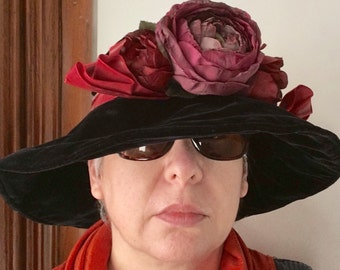 Eric Javits Hand Blocked Velvet and Peony Flower Hat