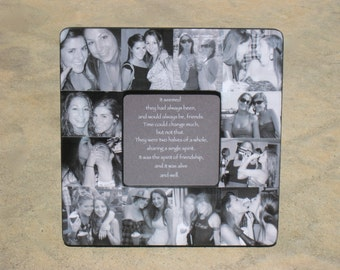 "Best Friends Photo Collage Frame, Personalized Sister Gift, Bridesmaid Picture Frame, Custom Collage Maid of Honor Frame, 8"" x 8"" Frame"