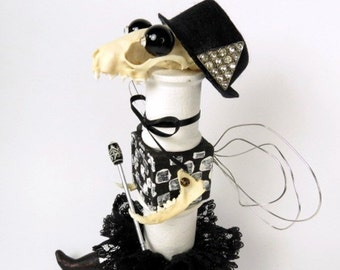 "Assemblage Art Doll ""Viola"" Bonehead Assemblage Art Doll, Black and White Doll, Mink Bones"