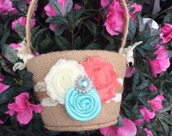 BURLAP Flower girl basket / rustic / barnyard wedding/ vintage flower girl basket/ custom colors
