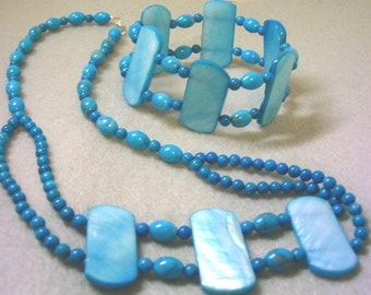 Turquoise Blue Mother of Pearl Necklace and Bracelet Jewelry Set, Blue Howlite Stone Beads, Handmade Jewelry Set