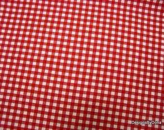 One Half Yard Cut of Quilt Fabric, Red and White 1/4 Inch Gingham Print, Sewing-Quilting-Craft Supplies