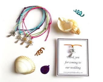 PALM TREE Tropical Beach Wedding Party Favour Bracelet - 12 Colours Available - Supplied on Gift Cardt