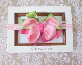 Pink Baby Headband, Baby Headband Bow, Toddler Headband, Girl hair Bow, newborn headband, infant headband, baby hair bow, baby head band
