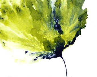 Watercolor Floral Art Flower Painting Green Navy Home Decor