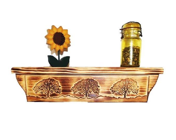 "17 1/2"" Wooden Wall Shelf Tree Carving Hidden Compartment"