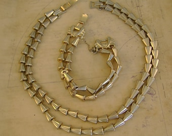 Vintage 1950s Signed Barclay Silvertone Necklace and Bracelet Set