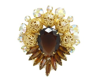 Juliana D&E Verified Topaz Rhinestone Brooch, Gold Filigree Balls, Amber Pin, Aurora Borealis Chaton Crystal AB, Brown Navette, High End