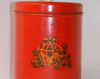 Vintage Red Tin With Lid
