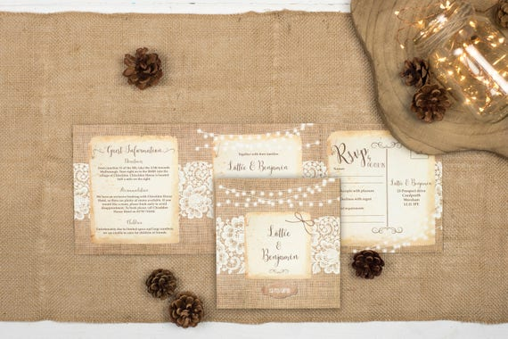 Rustic Wedding Invitation - Double-Folded Burlap And Lace (landscape)