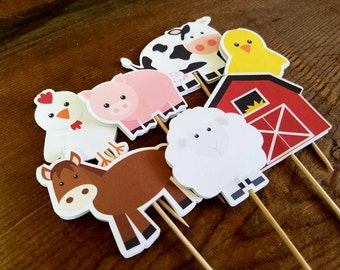 Farm Birthday Party - Set of 12 Assorted Double Sided Farm Buddies Cupcake Toppers by The Birthday House