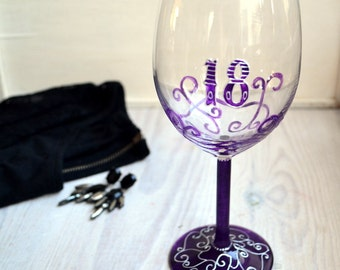 18th birthday gift, purple wine glasses, hand painted wine glasses, gift for her, 18th birthday glass, gift for her