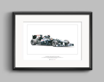 Formula 1 ART POSTER Pastor Maldonado - Williams FW34 - A2 size