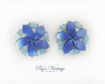 Vintage Blue Thermoset Earrings, Lucite Flower Clip Back Earrings