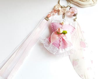 Porte clé Corset Valentine's day, corset romantique rose pastel, Bijou de sac corset rose et plume cadeau saint valentin, Valentine's Love