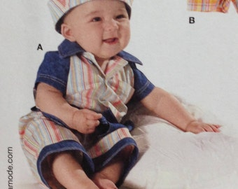 Burda 9711 Sewing Pattern, Infant Overalls, Toddler Overalls, Toddler Shirt, Toddler Pants, Toddler Hat, Size 3 mos-18 mos, OOP