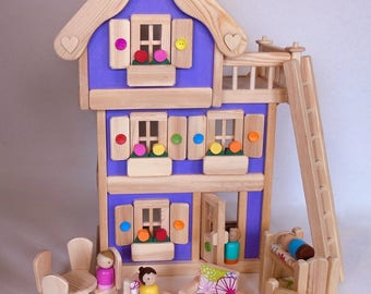 """Wooden Peg Doll House, Wood Toy Dollhouse Furniture, Handmade Waldorf Kids Birthday gift, Jacobs Wooden Toys """"LAVENDER DREAM"""""""