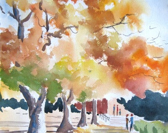 Watercolor art painting of Willamette Valley autumn landscape, Oregon, print from a handmade original