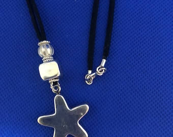 Sterling Silver Star and square, Balls Necklace suede