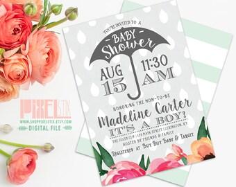 Trendy Baby Shower Umbrella Invitation Boy Invite - CUSTOMIZABLE PRINTABLE INVITATION - Watercolor Style Flowers with Raindrops