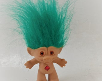Vintage Ace Novelty Troll Doll, Turquoise Green Hair